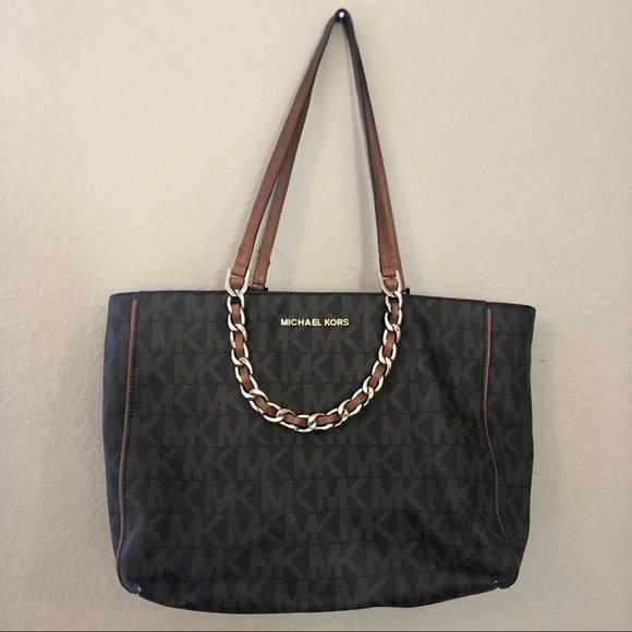 Michael Kors Handbags - Michael Kors Signature Tote Bag With Chain Straps